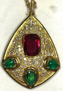 SOLID 18K YELLOW GOLD DIAMOND EMERALD RUBELLITE GEM DESIGNER PENDANT NECKLACE