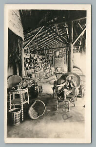Wicker Furniture Showroom RPPC Antique Baskets Chair Advertising Photo 1910s $39.99