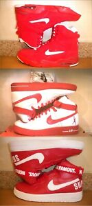 RARE! MEN'S NIKE AIR FORCE 1 ONES SHEED WHITERED (COMMAND SUPREME) REDWHITE!