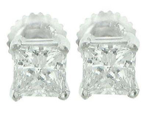 2.04 Ct Princess Cut Diamond Stud Earrings White Gold with Screw Back In PL