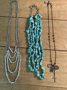 Lot Of Lucky Brand Necklaces Turquoise Cross Layered Long
