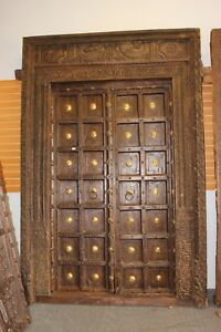 Antique Doors Carved Fishes Teak Brass Medallion Architecture Haveli Design Door