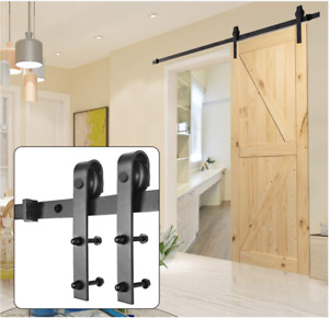 6.6 FT Black Steel Sliding Barn Wood Door Hardware Track Rail Hanger Roller Kit