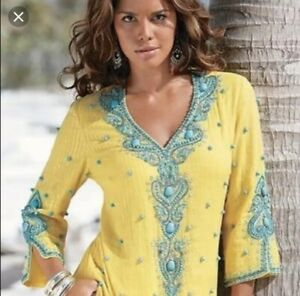 Boston Proper Womens Large Embellished Beaded Yellow Blouse Tunic Top Turquoise