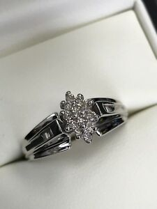 Diamond Cluster Ring set in 10K White Gold
