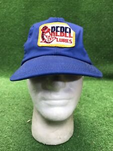 True Vintage Rebel Lures Snapback Trucker Hat Cap Blue W Patch Rare