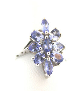 Tanzanite (Mrq) Ring Size 6, TGW 1.45 Cts.	Platinum Overlay Sterling  Silver