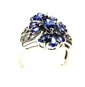 Item #493 Tanzanite Mrq Ring, 1.89 Ctw.  Size 5	Sterling Silver