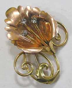 Vintage Jewelry Signed Van Dell Gold Filled Brooch Stylized Calla Lily $26.50
