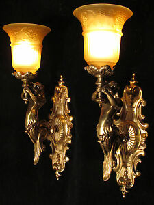 wall light solid bronze mermaid sculpture made in America amber shades
