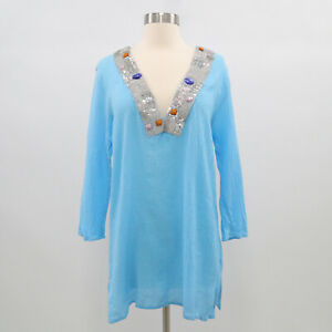 T-Bags Tunic Top Womens L Large Blue Turquoise Beaded Embellished Silver