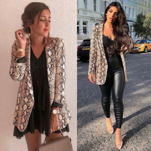 Women Snake Skin Print Long Sleeve Blazer Jacket Outwear Cardigan Coats C8T3