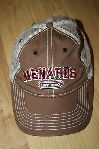 Menards Home Improvement Est. 1960 Brown Adjustable Mesh Back Baseball Cap Hat