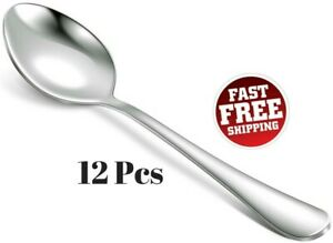 12 Piece Table Spoons Set 18 10 Stainless Steel Dinner Tablespoons Soup Flatware