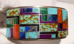 Stunning Multi Channel Inlay Turquoise Cuff Bracelet Sterling Silver Signed N S