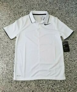 New Nike Dry Fit Youth Boys White Golf Polo T-Shirt Shirt Size: Large