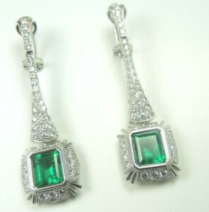 Colombian Emerald Platinum &18K Earrings E. 8.42 D.4.85 Cts Very Fine Muzo Mine
