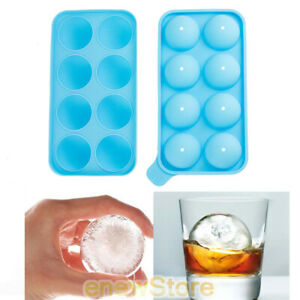 Round Ice Balls Maker Tray 8 Large Sphere Molds Bar Cube Whiskey Cocktails USA