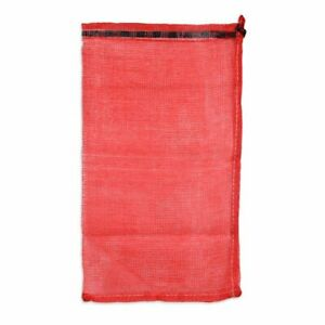 Red mesh bag with drawstring for onions, potatoes, nuts, oysters, firewood etc