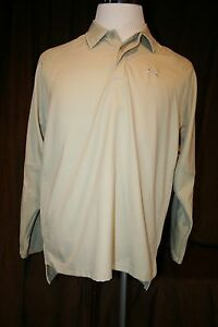 Under Armour Beige Vented Polo Shirt Long Sleeves Light Weight Fishing Medium M