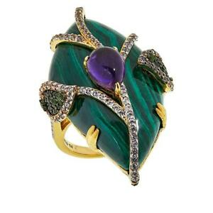 Rarities Gold Plated Sterling Silver Malachite and Gem Freeform Ring