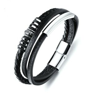 Leather Bracelet for Men Black Braid Multilayer Rope Stainless Steel Magnetic