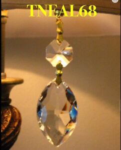 Lot of 6 REAL CRYSTALS Magnetic Teardrop Oval Drop  Chandelier Lamp Ornament