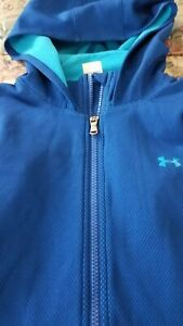 Under Armour womens Coldgear Blue fitted Full Zip Hoodie Sz SM in GREAT Shape!