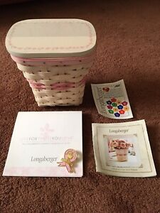 Longaberger 2004 Whitewashed Horizon Of Hope Breast Cancer Basket Combo