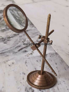 Vintage Brass Table Marine Magnifier Magnifying Reading Glass W Stand Nautical $27.90