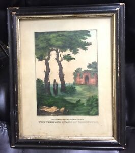 Original Currier & Ives Hand Colored Lithograph Tomb & Shade of Washington 1800s
