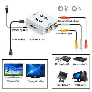 Composite AV CVBS 3RCA to HDMI Video Converter Adapter 7201080p + HDMI Cable I8