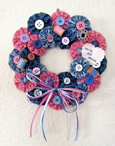 Sewing Wall Plaque quot;You#x27;re Sew Specialquot; Wreath Blue Pink Cloth Buttons Thread 7quot; $6.00