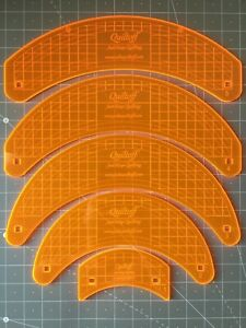 """Set Of Quilting Rulers5 Curves 1 4"""" Thick Longarm Midarm Fluorescent Orange $105.00"""