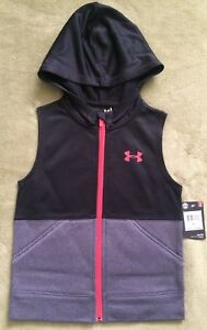 NWT Under Armour Girls' 2-tone Sleeveless Hoodie Vest Zip Up BLK Grey New Sz 5 6
