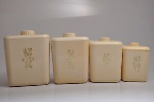 Vintage 1950#x27;s RETRO Plastic SQUARE Creme Nesting Canisters Set of FOUR $9.99