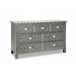Bone Inlay Floral Design Chest of 7 Drawers Side Board Table Black