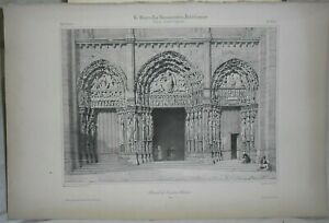 Lithography L Portal' West in Chartres
