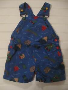 VTG 90s Gymboree Boy Camping Shorts Overall Summer Outfit XS 9 18M 9 12 18 Month