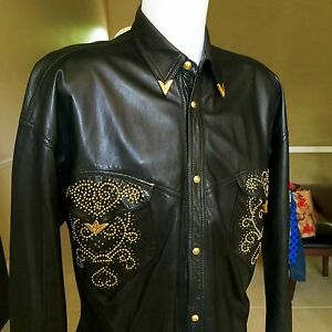 GIANNI VERSACE black cowboy studded leather men's shirt w metal tips from 1993