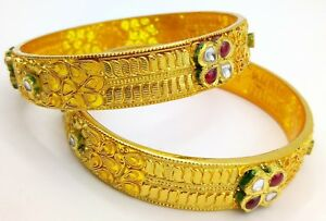 22 K YELLOW GOLD BRIDAL KUNDAN BANGLE BRACELET NICE HANDMADE DESIGN FILIGREE
