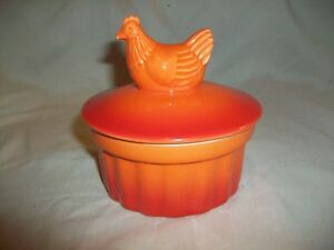Nouvelle Cuisine Small Orange Hen Chicken Ramekin Baking Dish with Lid