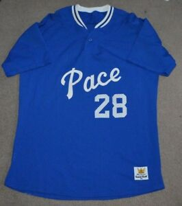 Vtg Pace University Setters Game Worn Used 80s Baseball Jersey Sand Knit XL NYC