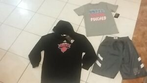 Boys 7-8 lot NWT shorts + Adidas Knicks hoodie size S + Under Armour t-shirt 7