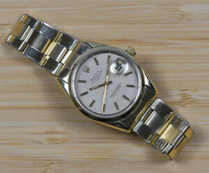 Mint Vintage ROLEX 1550 Gold Cap Oyster Perpetual Watch Men's Large Size Band