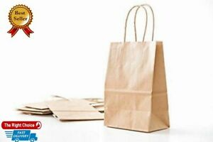 50 Pcs Retail Shopping Craft Gift Bags Brown Paper With Handles 10 X 5 X 13In N
