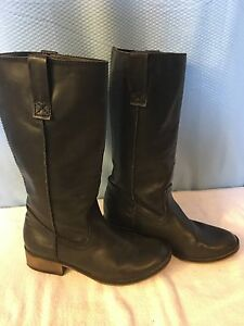Mia Grey Leather Tall Womens Boot