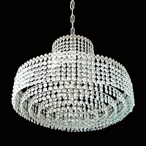 Large Crystal Glass Beads Wedding Cake Chrome Chandelier w 8 Rings