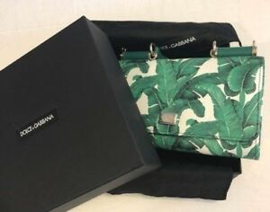 Dolce & Gabbana Wallet Shoulder Chain Bag Purse Pouch Banana Leaf Green Woman