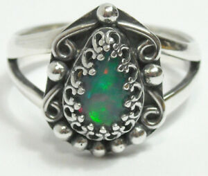 925 Sterling Silver Ring Size 9 Natural 9mm Pear Fire Opal Very Colorful NEW